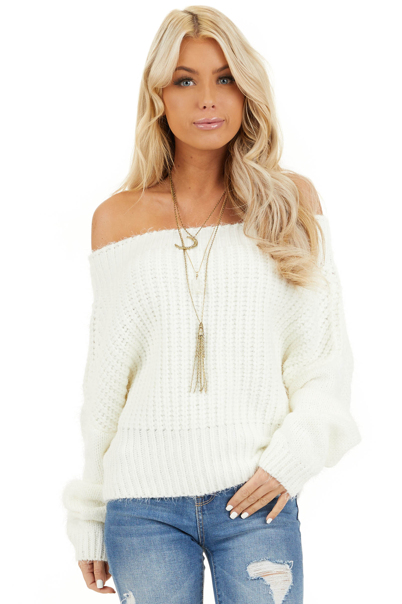 Ivory Off Shoulder Long Sleeve Knit Sweater Top front close up