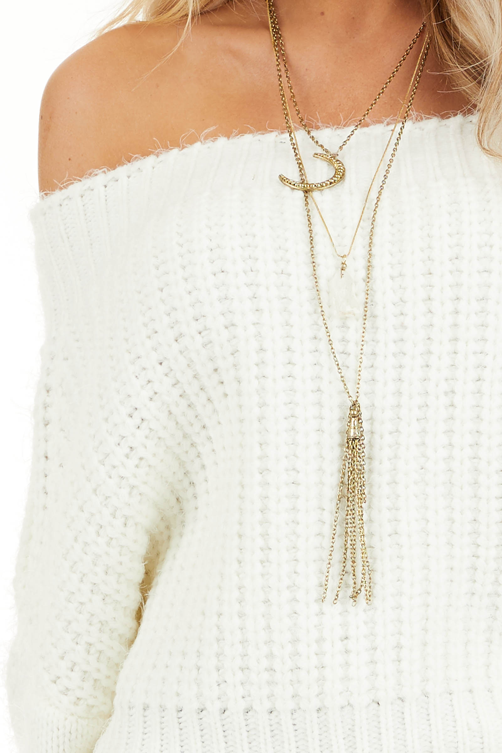Ivory Off Shoulder Long Sleeve Knit Sweater Top detail