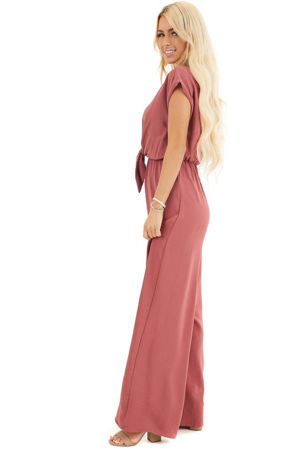 Berry Short Sleeve Jumpsuit with V Neckline and Keyhole Back side full body