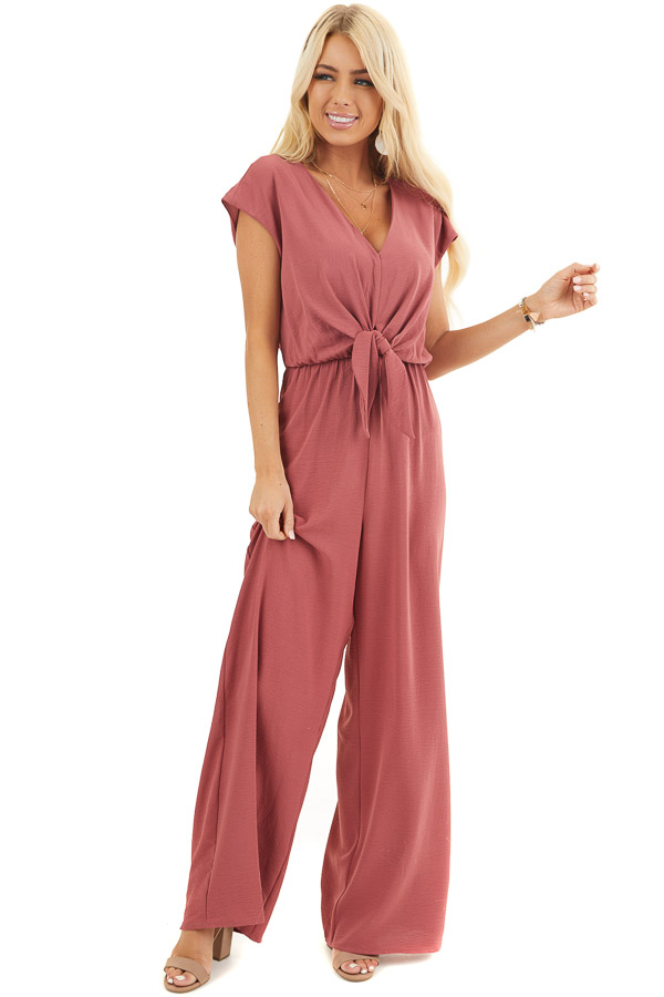 Berry Short Sleeve Jumpsuit with V Neckline and Keyhole Back front full body
