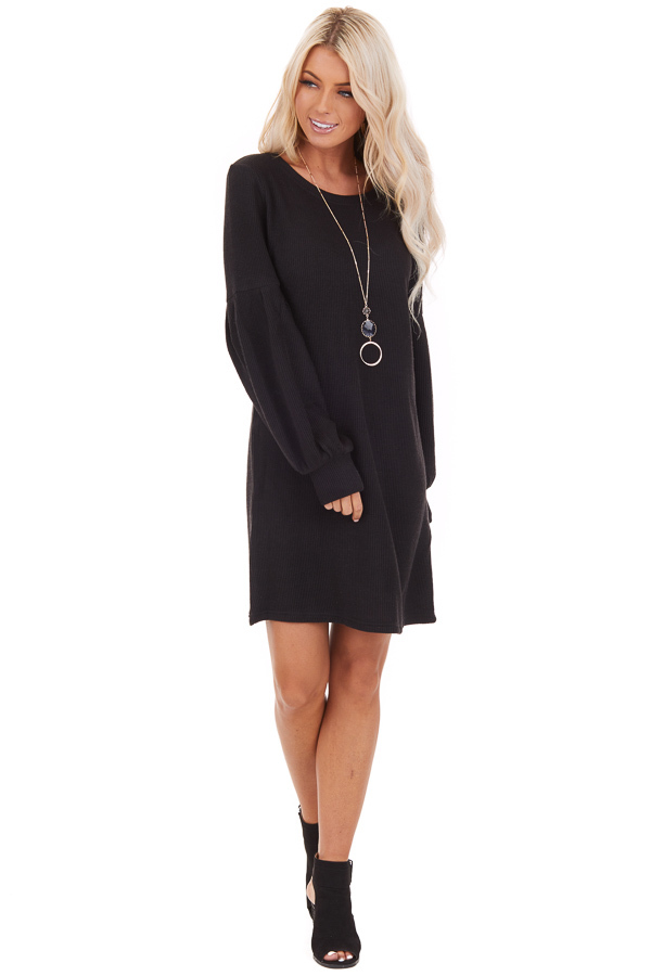 Black Ribbed Mini Dress with Long Bubble Sleeves front full body