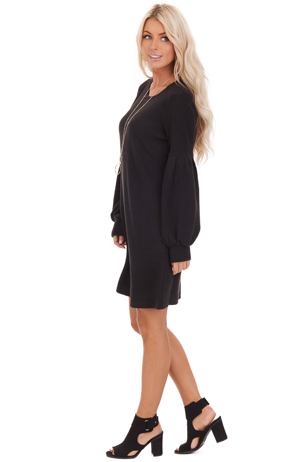 Black Ribbed Mini Dress with Long Bubble Sleeves side full body
