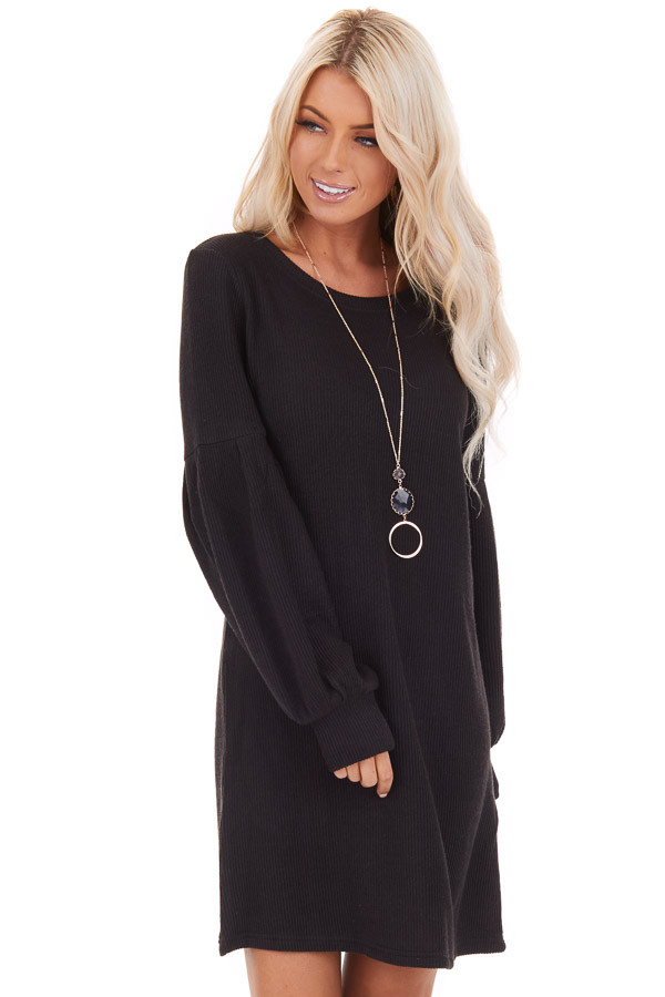 Black Ribbed Mini Dress with Long Bubble Sleeves