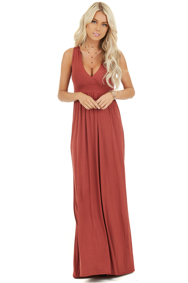 Rust Soft Maxi Dress with Surplice V Neckline front full body