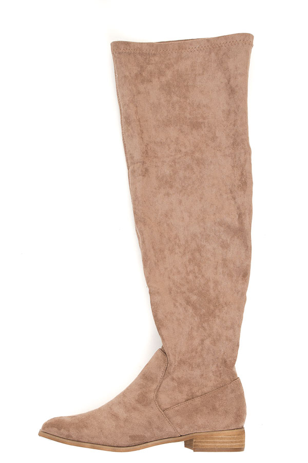 Taupe Over the Knee Faux Suede Boots