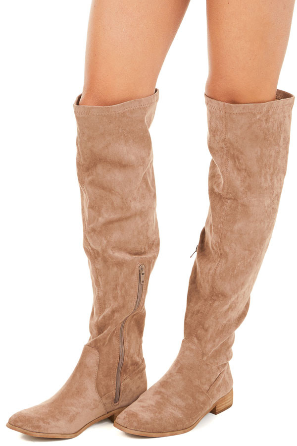 Taupe Over the Knee Faux Suede Boots side view