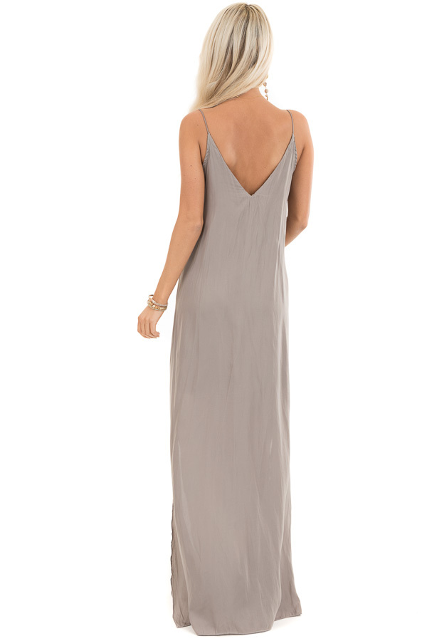 Taupe Sleeveless Overlay Maxi Dress with V Neckline back full body