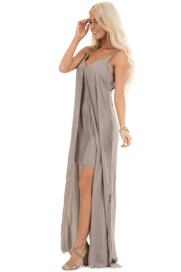 Taupe Sleeveless Overlay Maxi Dress with V Neckline side full body