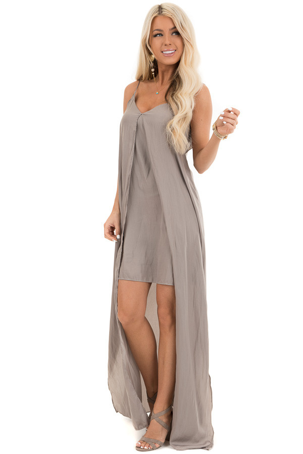 Taupe Sleeveless Overlay Maxi Dress with V Neckline front full body