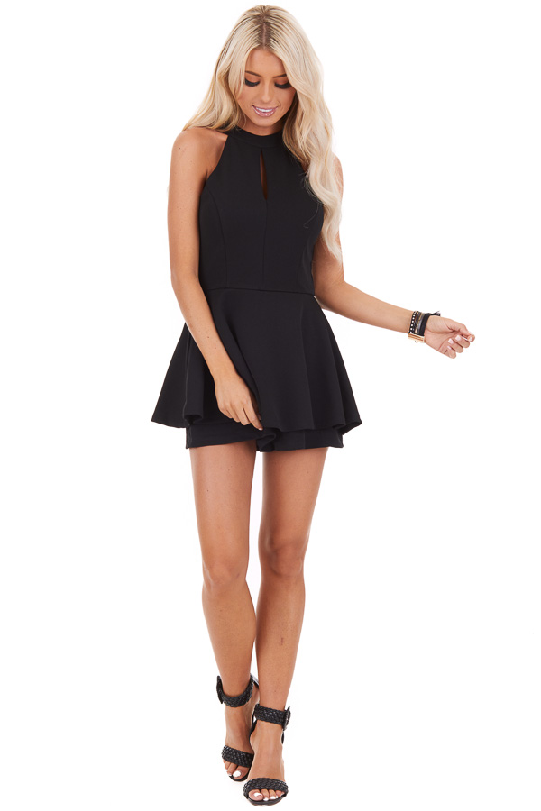 Black Halter Neck Romper with Keyhole Detail and Skirt front full body