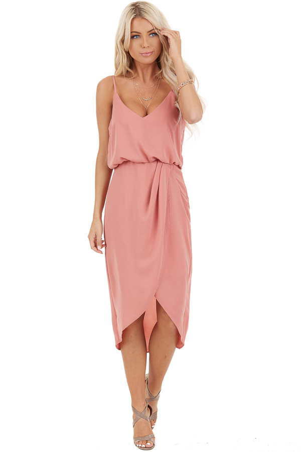 Faded Coral Dress with Surplice Detail and Elastic Waistband front full body