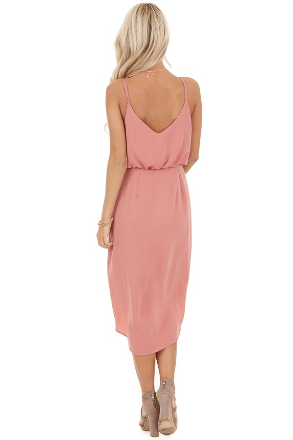 Faded Coral Dress with Surplice Detail and Elastic Waistband back full body
