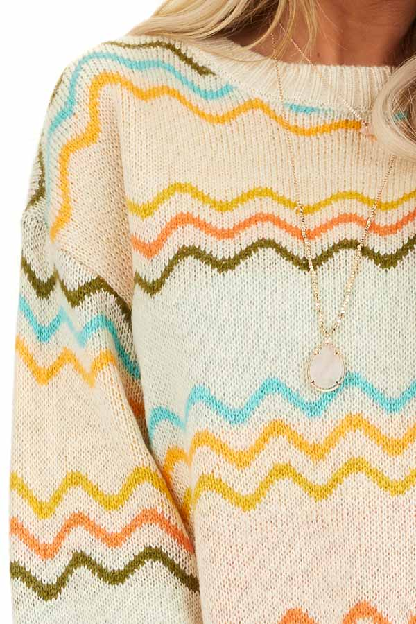 Ivory Chevron Print Long Sleeve Knit Sweater detail