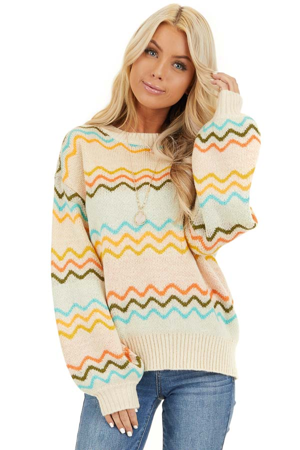 Ivory Chevron Print Long Sleeve Knit Sweater front close up