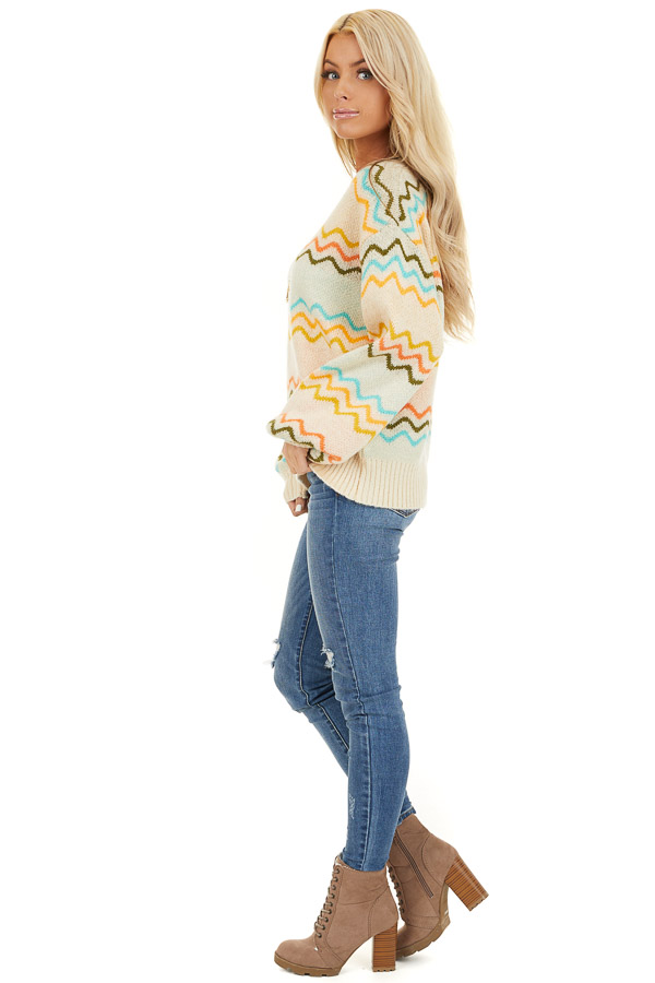 Ivory Chevron Print Long Sleeve Knit Sweater side full body