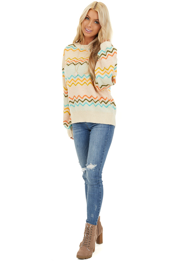 Ivory Chevron Print Long Sleeve Knit Sweater front full body