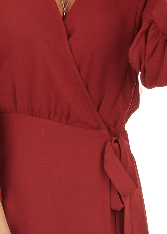 Burgundy V Neck Wrap Dress with 3/4 Sleeves and Side Tie detail
