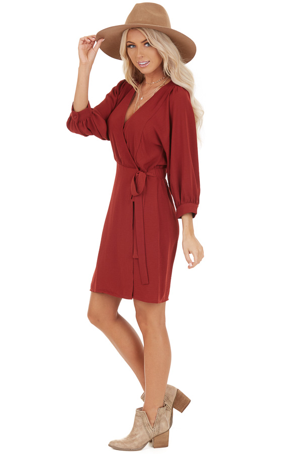 Burgundy V Neck Wrap Dress with 3/4 Sleeves and Side Tie side full body
