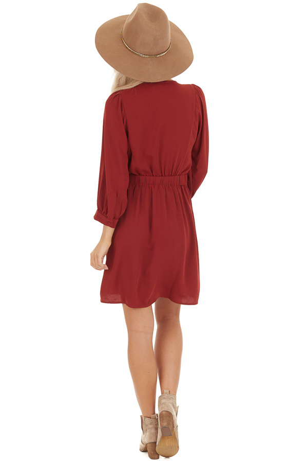 Burgundy V Neck Wrap Dress with 3/4 Sleeves and Side Tie back full body