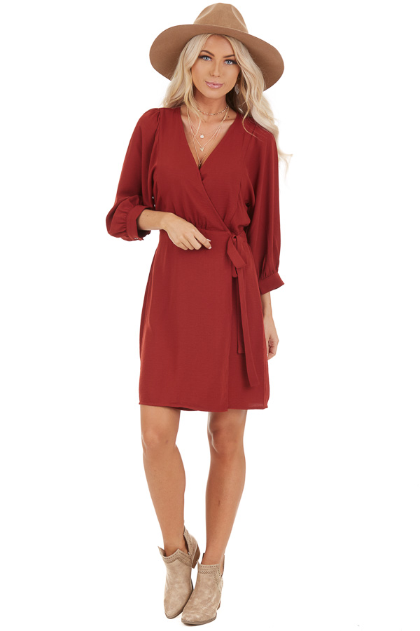 Burgundy V Neck Wrap Dress with 3/4 Sleeves and Side Tie front full body