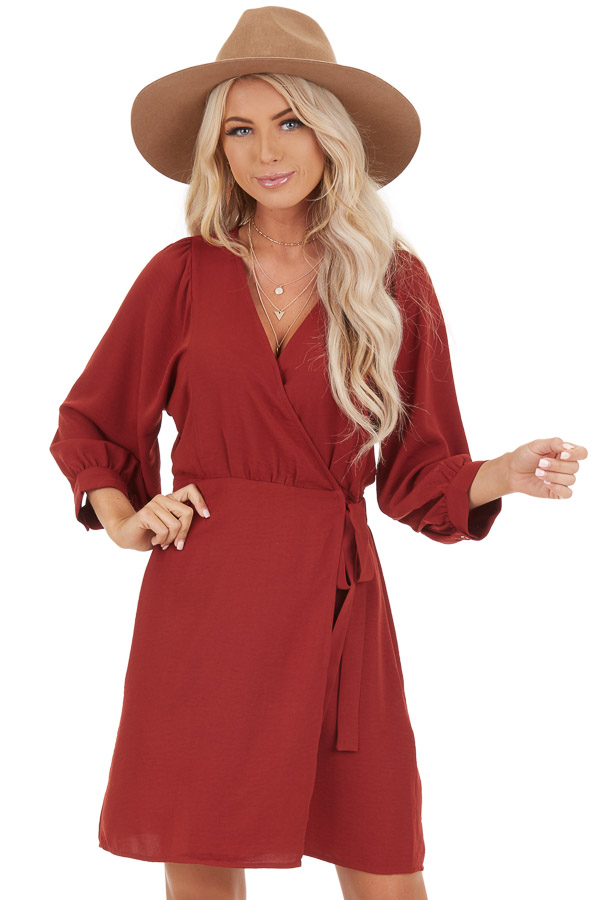 Burgundy V Neck Wrap Dress with 3/4 Sleeves and Side Tie front close up