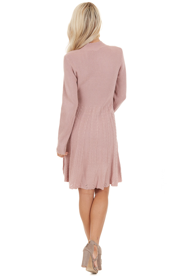 Dusty Rose Mock Neck Sweater Dress with Cable Knit Detail back full body
