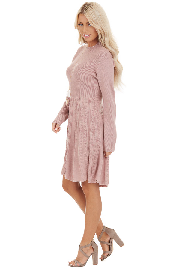 Dusty Rose Mock Neck Sweater Dress with Cable Knit Detail side full body