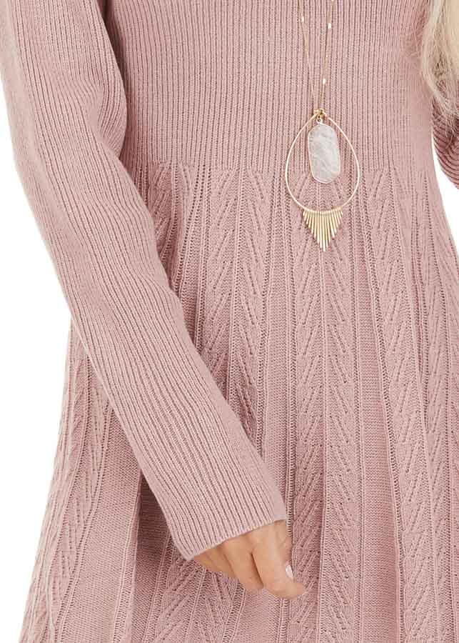 Dusty Rose Mock Neck Sweater Dress with Cable Knit Detail detail