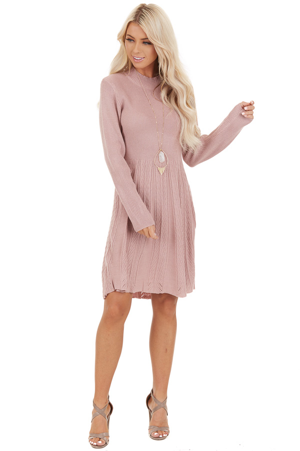 Dusty Rose Mock Neck Sweater Dress with Cable Knit Detail front full body