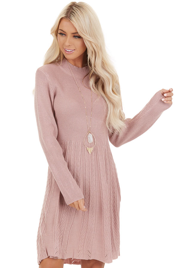 Dusty Rose Mock Neck Sweater Dress with Cable Knit Detail front close up