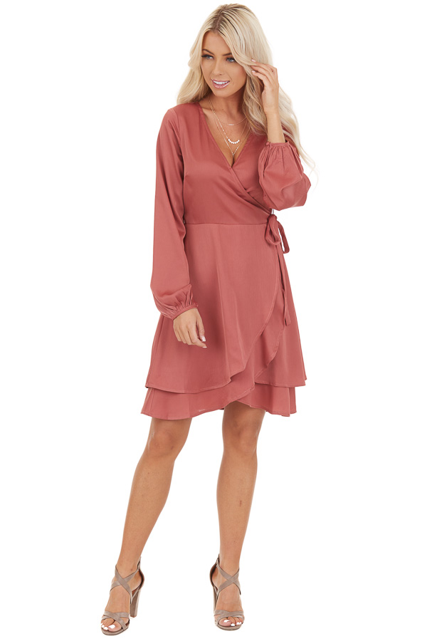 Mauve Surplice Wrap Style Dress with Long Sleeves front full body