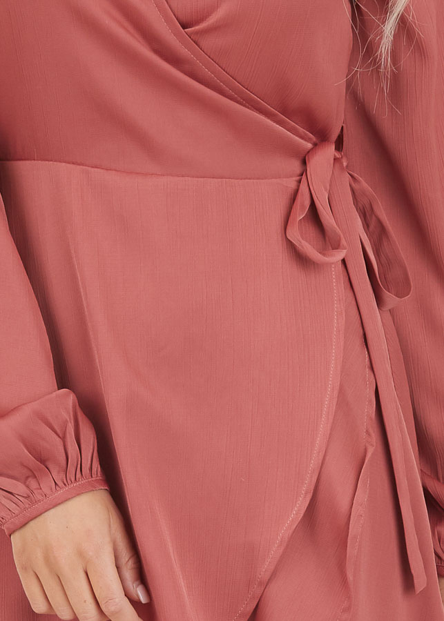 Mauve Surplice Wrap Style Dress with Long Sleeves detail