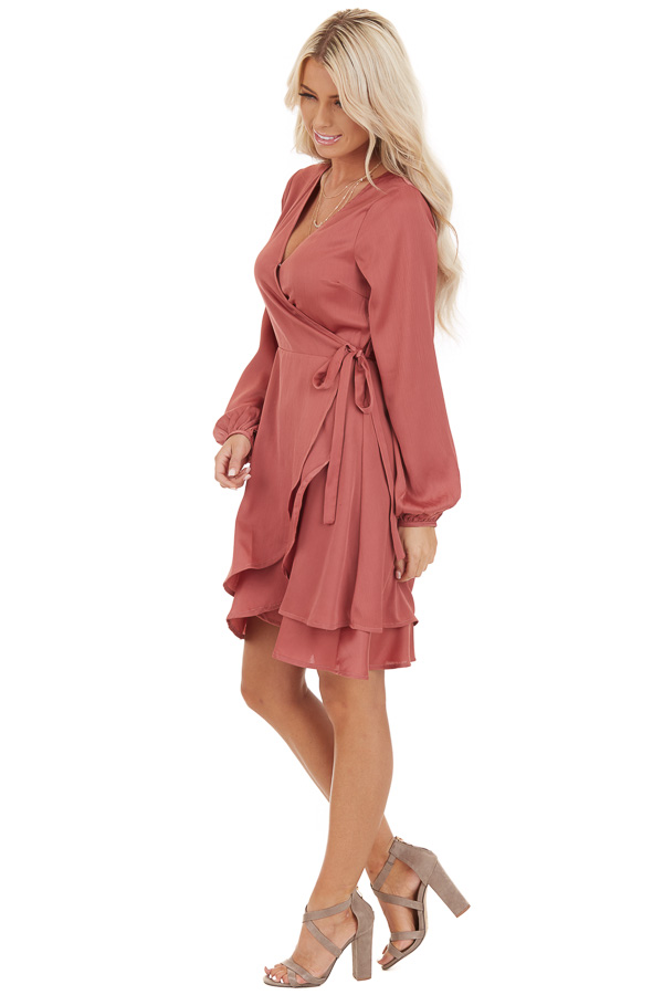 Mauve Surplice Wrap Style Dress with Long Sleeves side full body