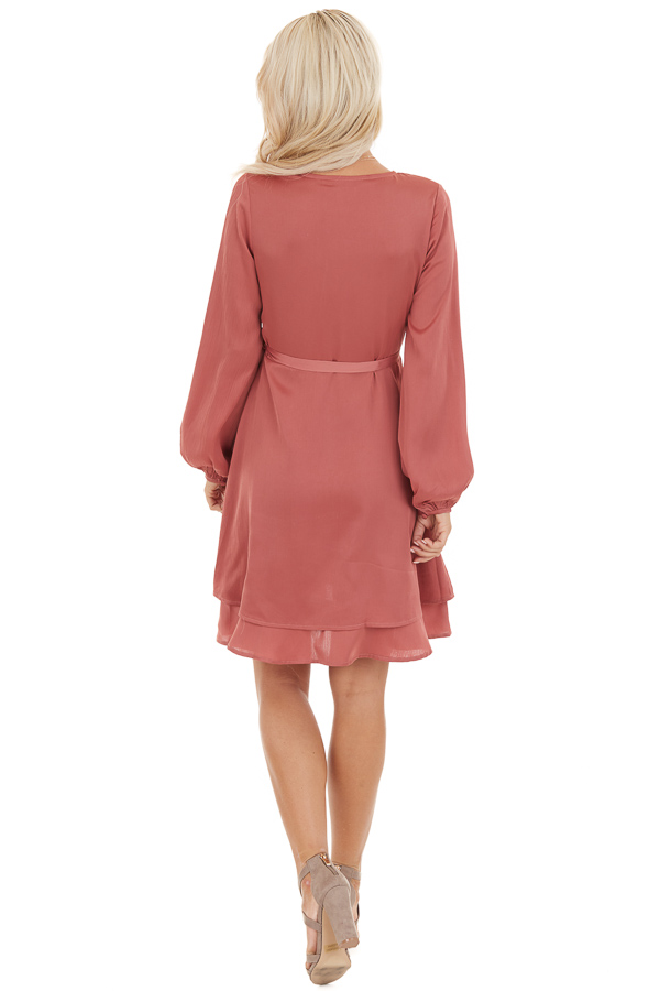 Mauve Surplice Wrap Style Dress with Long Sleeves back full body