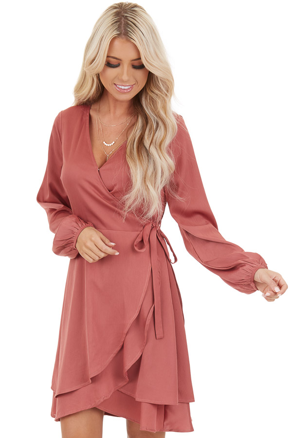 Mauve Surplice Wrap Style Dress with Long Sleeves front close up