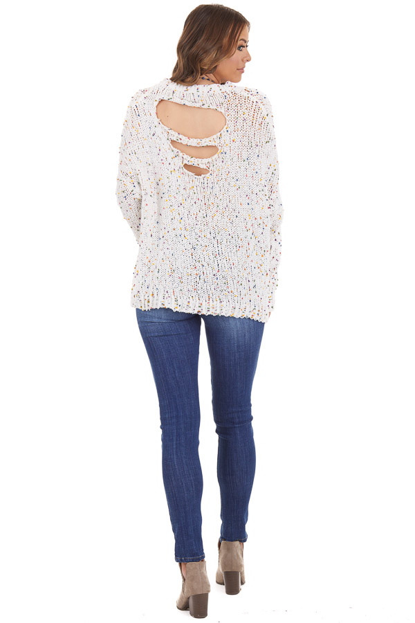 Ivory Chenille Sweater with Colorful Dots and Distressing back full body
