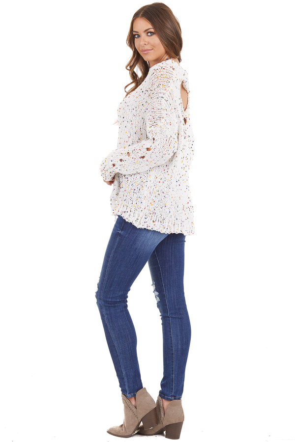 Ivory Chenille Sweater with Colorful Dots and Distressing side full body