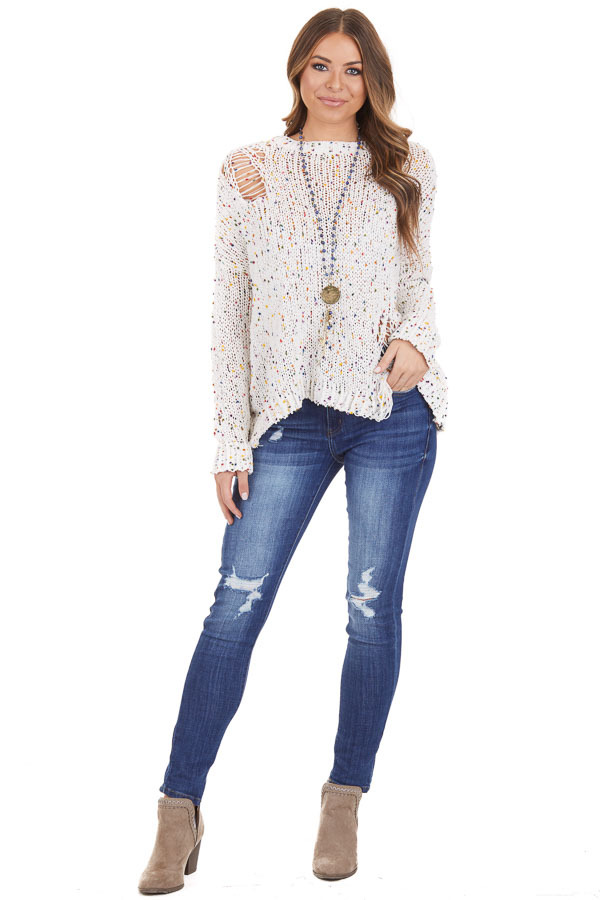 Ivory Chenille Sweater with Colorful Dots and Distressing front full body
