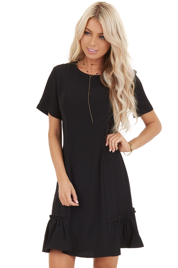 Black Short Sleeve Mini Dress with Ruffle Details front close up
