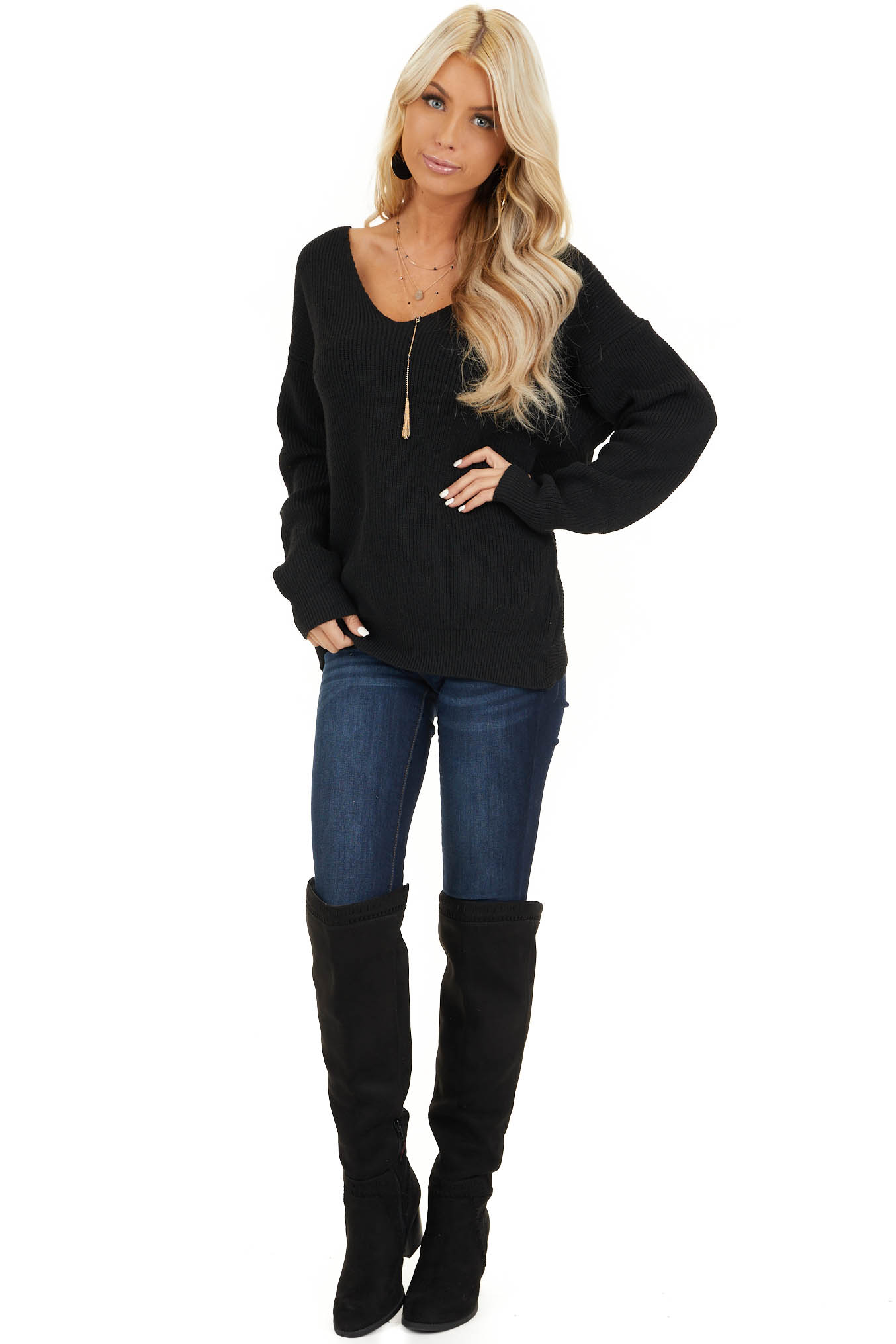 Black Ribbed Knit Sweater with Back Knot Detail front full body