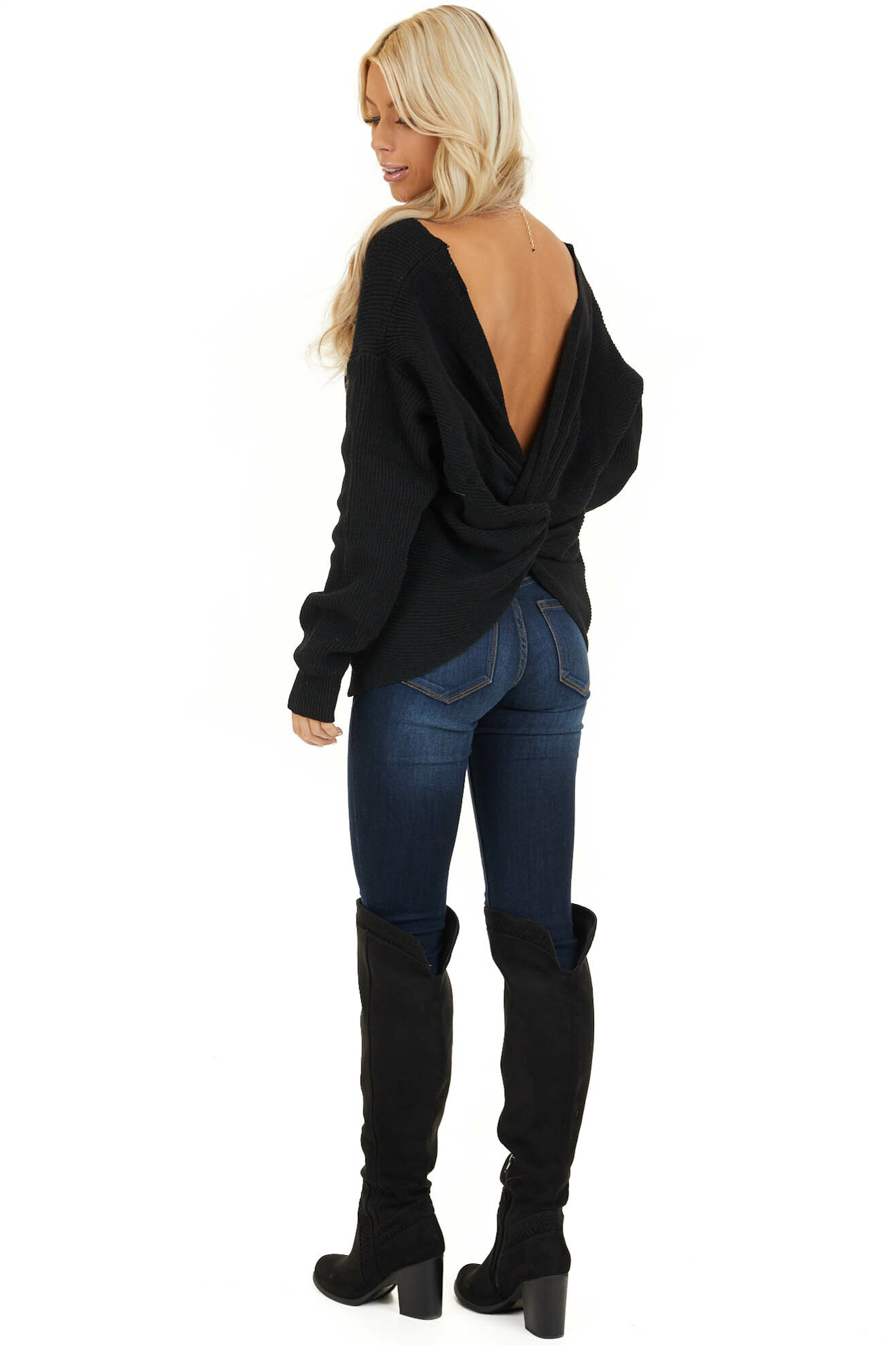 Black Ribbed Knit Sweater with Back Knot Detail side full body