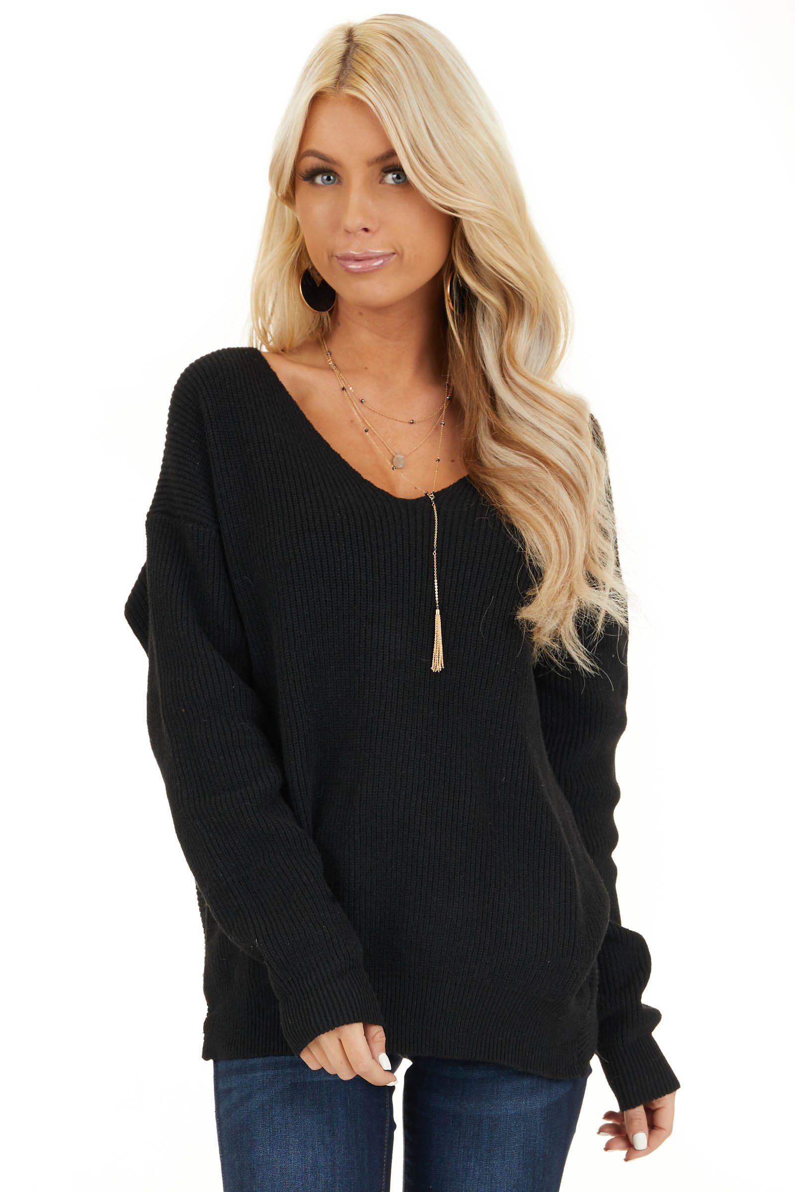 Black Ribbed Knit Sweater with Back Knot Detail front close up
