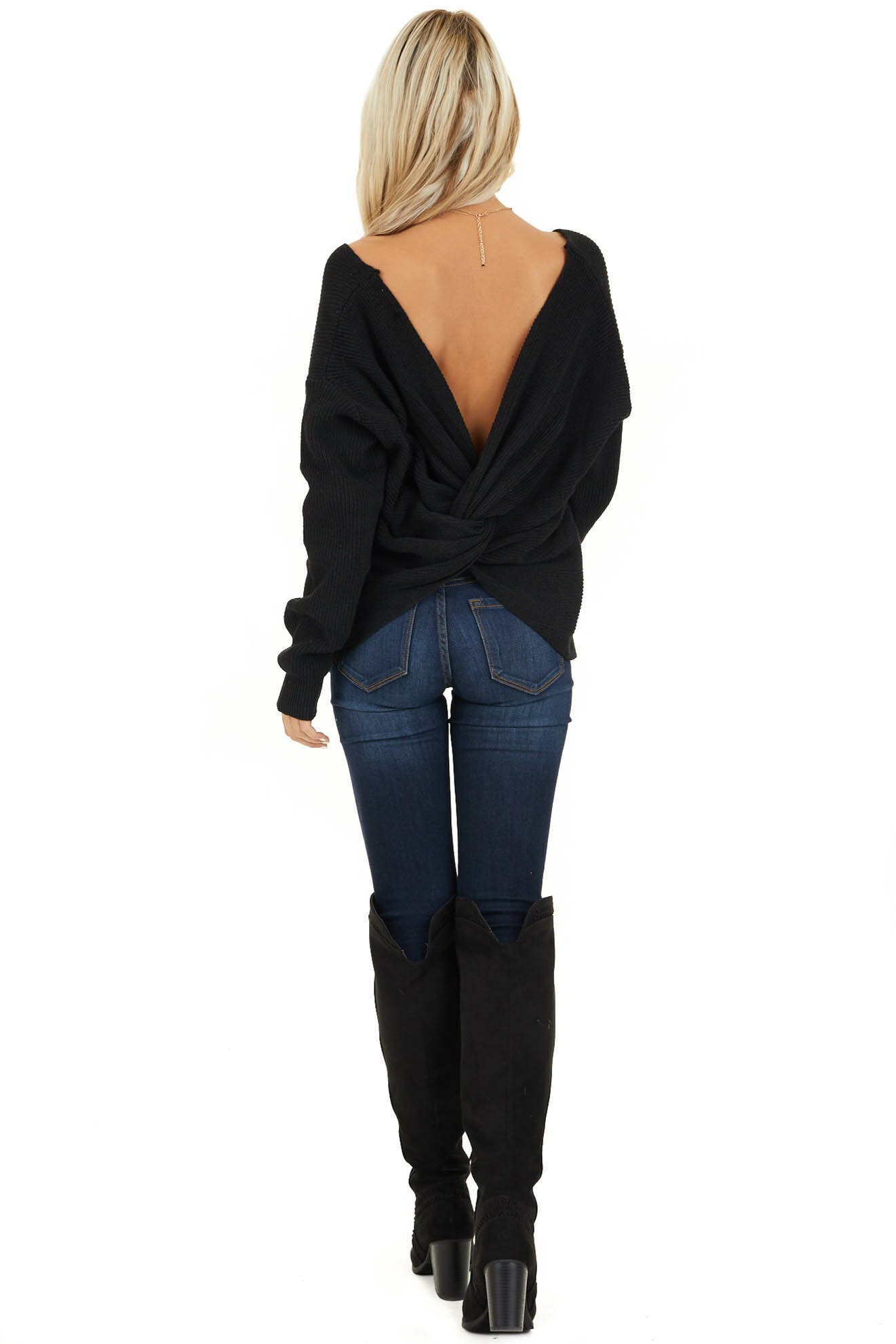 Black Ribbed Knit Sweater with Back Knot Detail back full body