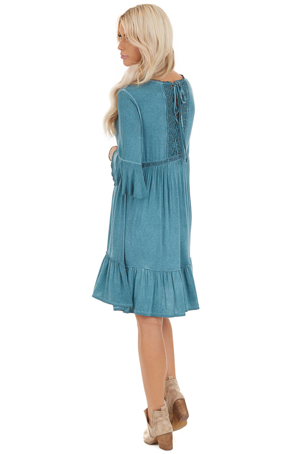 Aqua Washed Dress with 3/4 Trumpet Sleeve and Lace Detailing side full body