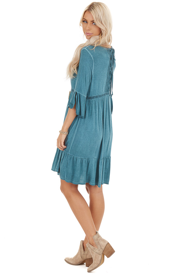 Aqua Washed Dress with 3/4 Trumpet Sleeve and Lace Detailing back full body