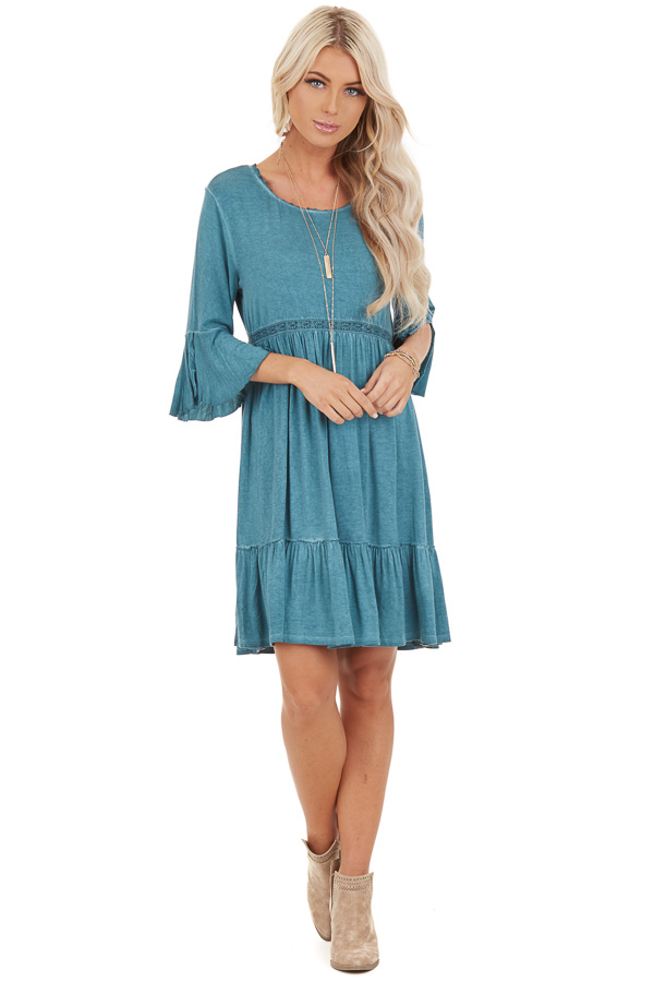Aqua Washed Dress with 3/4 Trumpet Sleeve and Lace Detailing front full body