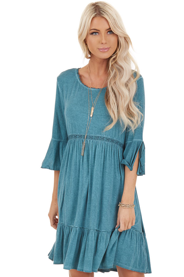 Aqua Washed Dress with 3/4 Trumpet Sleeve and Lace Detailing