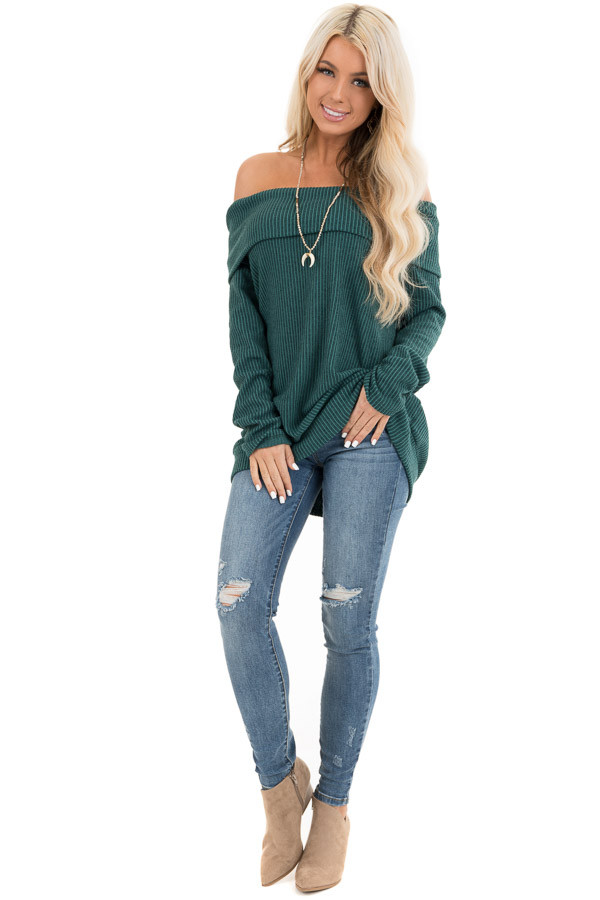 Forest Green Ribbed Off the Shoulder Long Sleeve Sweater front full body