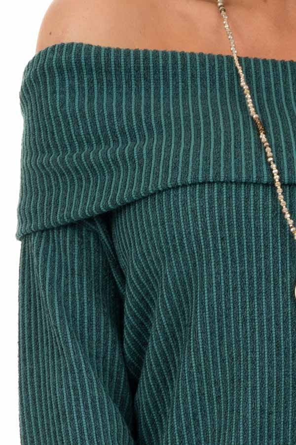 Forest Green Ribbed Off the Shoulder Long Sleeve Sweater detail