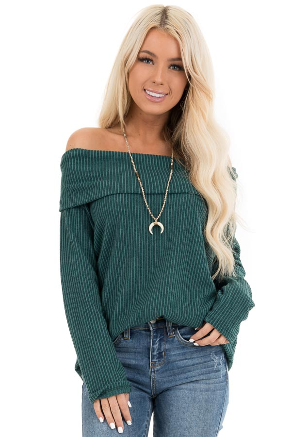 Forest Green Ribbed Off the Shoulder Long Sleeve Sweater front close up